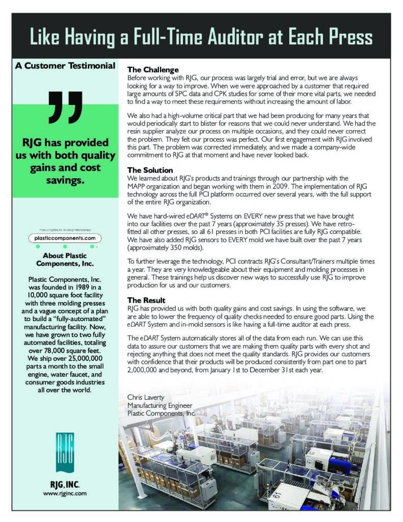 Written Testimonials - RJG, Inc